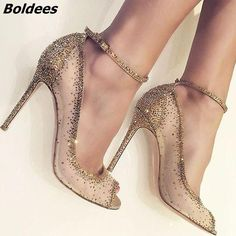 Charming Golden Glittering Crystal Stiletto - The Closet Freakz Boutique