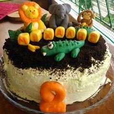 Birthday cake!!  Jungle Party!!  Lion, monkey,  elephant,  crocodile fondant