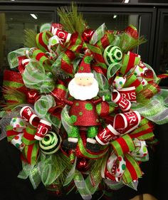 Santa Christmas wreath by WilliamsFloral on Etsy, $92.00