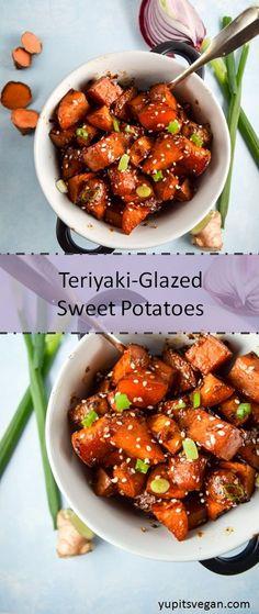 Teriyaki-Glazed Sweet Potatoes | yupitsvegan.com. Oven-roasted sweet potatoes, caramelized in teriyaki sauce.