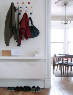 Eames Hang It All - I use two of these at a time in my front hall to catch everything.
