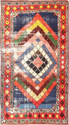 Diamond Design Vintage Tribal Persian Shabby Chic Gabbeh Rug 48963 Detail/Large View