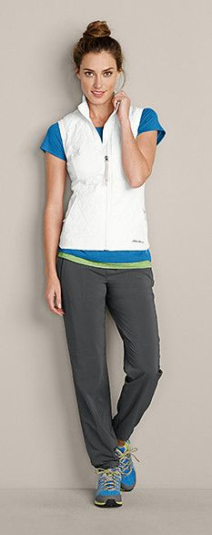 Check out this great look: Fell Swoop Vest, Resolution Short-Sleeve T-Shirt, Resolution Tank Top, Myriad Jogger Pants, & Eddie Bauer Highline Trail shoes | #LiveYourAdventure