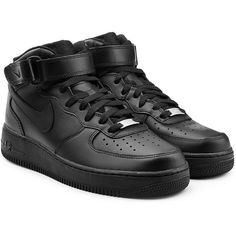 Nike Air Force 1 Mid 07 Leather Sneakers (635 RON) ❤ liked on Polyvore featuring shoes, sneakers, black, black leather shoes, leather shoes, nike trainers, black trainers and nike shoes