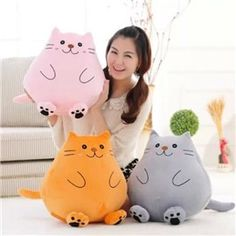 Hello kitty Creative cat Ty plush animals plush spongebob toys for children soft toys licorne birthday gifts stuffed animals Sewing Toys, Sewing Crafts, Sewing Projects, Cute Pillows, Diy Pillows, Ty Plush, Sewing Stuffed Animals, Pokemon Plush, Fabric Toys