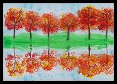 Podzimní krajina – odraz na vodní hladině Autumn Art, Autumn Trees, Fall Crafts For Kids, Art For Kids, Fall Art Projects, 2nd Grade Art, Egg Carton Crafts, Perspective Art, Art Curriculum