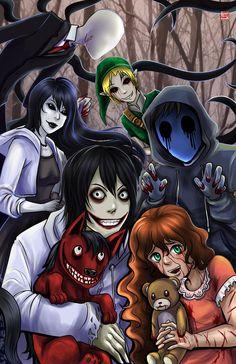 Slenderman, BEN Drowned, Jane the Kiler, Jeff the Killer, Eyeless jack, Sally and Smile