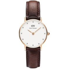Daniel Wellington Women's Classy Bristol Rose Gold and Leather Strap... (€125) ❤ liked on Polyvore featuring jewelry, watches, brown, leather strap watches, dial watches, rose watches, pink gold watches and swarovski crystal watches