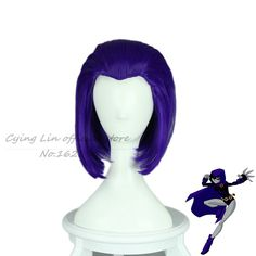 Wigs New Arrival Teen Titans Raven cosplay anime  Cos Wig Purple Hair Girl's Straight Short 35cm Wigssobretudo women cabelo sintetico ** AliExpress Affiliate's Pin. Offer can be found by clicking the image