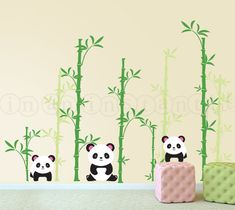 Panda Wall Decal, Pandas and Bamboo Forest Wall Decal for Nursery, Kids or Childrens Room 028