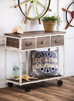 This distressed table will give a vintage feel to any room