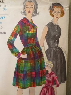 Vintage Vogue 5662 Sewing Pattern, 1960s Dress Pattern, Shirt Dress Pattern, Bust 32, Button Front, Full Skirt, French Cuffs, Sewing Supply