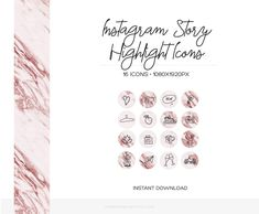 Make your Instagram profile stand out with this hand-drawn Instagram Stories Highlight covers. This rose gold & marble highlights icons will keep your profile pretty and showcase your best stories. // Instagram Story Highlight Cover Pink #instagram #instagramstory