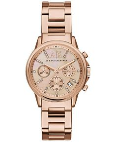 A X Armani Exchange Women's Chronograph Rose Gold-Tone Stainless Steel Bracelet Watch 36mm AX4326 - Women's Watches - Jewelry & Watches - Macy's