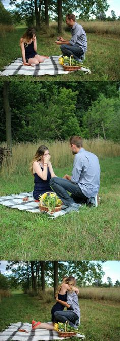 She sat down to open the champagne for their picnic, and when she looked up, he was on one knee waiting to propose. <3
