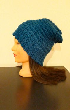 Blue Slouchy Beanie by TikosPlace on Etsy