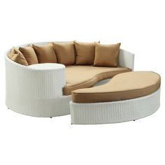 Found it at Wayfair - Taiji Daybed & Ottoman Set in White with Mocha Cushions