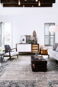 Distressed Persian rugs are durable and chic