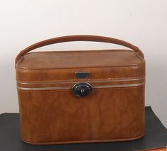 Amelia Earhart Cosmetic Bag - Brown Luggage - Travel Case with Mirror - Free US Shipping