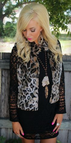 Get 10% off anything at thelacecactus.com with code KELSEYR10 at checkout! Tied Up in Leopard Fur Vest - The Lace Cactus