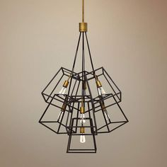 Black metal wire lamp shade clip on 8x7x45 vertical wire hinkley fulton 27 34w bronze cage multi light pendant greentooth Image collections