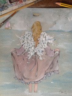 Angel by the sea watercolor