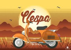 The Creative Agency Vespa Illustration, Flat Design, Mickey Mouse, Disney Characters, Fictional Characters, Digital Art, Illustrations, Michey Mouse, Illustration