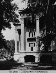 West corner of portico at Belle Grove plantation near White Castle Louisiana :: State Library of Louisiana Historic Photograph Collection