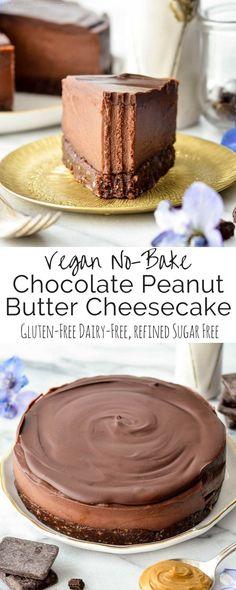 This No-Bake Vegan Chocolate Peanut Butter Cheesecake recipe is a healthy yet decadent dessert! Gluten-free, dairy-free, vegan, and paleo-friendly!
