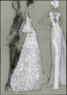 Fashion Sketch - black & white fashion drawing of models in couture gowns // Kenneth Paul Block
