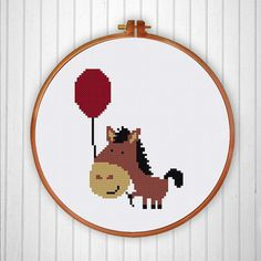 Horse with Balloon cross stitch pattern modern от ThuHaDesign