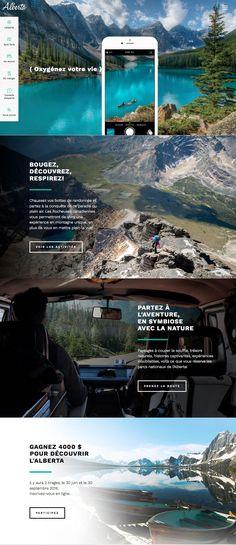 Tourisme Alberta (More web design inspiration at Flat Web Design, Graphisches Design, Custom Web Design, Web Design Trends, Travel Website Design, Ecommerce Website Design, Responsive Web Design, Design Thinking, Mise En Page Web