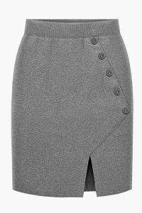 Button Accent Front Slit Knitted Pencil Skirt, You can collect images you discovered organize them, add your own ideas to your collections and share with other people. Skirt Outfits, Dress Skirt, Midi Skirt, African Fashion Dresses, Fashion Outfits, Womens Fashion, Fashion Clothes, Calf Length Skirts, Dress Patterns
