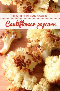 Cauliflower popcorn, a healthy vegan snack recipe low in calories. A quick and easy salty treat idea for late night cravings! #vegan #vegansnack #veganrecipes #veganfood #plantbased #plantbaseddiet #veganprogram #healthysnack #healthyrecipes #cleaneating
