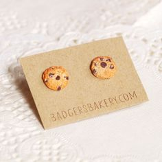 Chocolate Chip COOKIE STUDS, Tiny Cookie Earrings, Food Miniature Jewelry, Christmas Stocking Stuffer by BadgersBakery on Etsy https://www.etsy.com/listing/241111342/chocolate-chip-cookie-studs-tiny-cookie