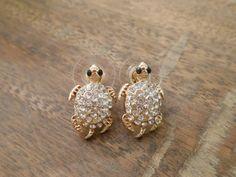Gold Rhinestone Turtle Earrings - WANT THESE SO BAD!