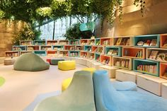 Do-Do-store by Taipei Base Design Center, Shanghai – China School Library Design, Daycare Design, Kids Library, Interior Exterior, Interior Design, Kindergarten Design, House Design Pictures, Library Inspiration, Library Furniture