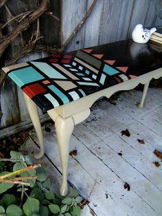 shabby chic Tisch-neu lackieren streichen-Muster ausmalen