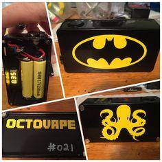 Custom Batman themed dual 18650 series box mod by Octovape