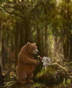 pics of a bunny bear Illustrations, Children's Book Illustration, Bunny Painting, Bear Tattoos, Bunny And Bear, Bunny Art, Bear Art, Cute Bears, Wildlife Art