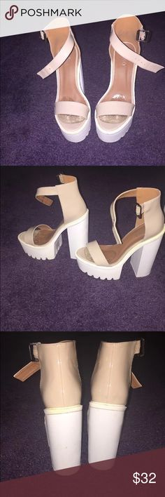 Nude platform heels Nude patent leather platform with white sole. True to size. Bebo Shoes Platforms