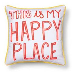 "Happy Place Throw Pillow - 17""x17"" - Multicolor - Pillowfort™"