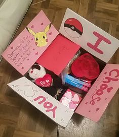 Valentines day pokemon themed care package