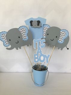 Elephant Baby Shower Centerpiece in Blue and door AllDiaperCakes