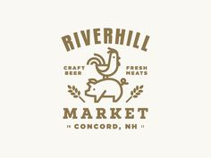 Riverhill market logo design farm animals typography illustration icon
