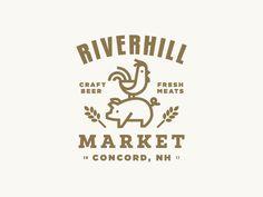 Riverhill market logo design farm animals typography illustration icon
