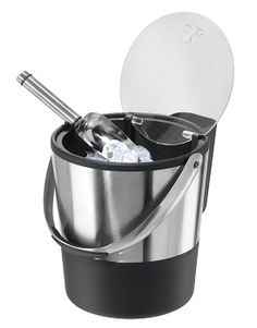 Oggi Double Wall Ice Bucket with Flip Lid  and stainless steel ice scoop. Holds approximately 4 quarts of ice.