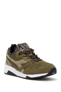 Sizing: True to size. Round toe with extended bumper. Suede construction with woven midsole details. Stretch sock with camo print. Lace-up vamp closure. Nordstrom Rack, Camo, Socks, Sneakers, Fashion, Fashion Styles, Camouflage, Tennis, Moda