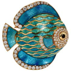 For Sale on - Beautiful and luxurious enamel brooch, pendant, (enhancer) as an exotic ornamental fish, 18 karat gold and diamonds. Wearable as brooch or pendant. Gold Brooches, Vintage Brooches, Art Necklaces, Diamond Brooch, European Cut Diamonds, Vintage Diamond, Karate, Fisher, 18k Gold