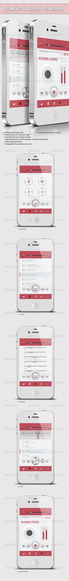 Red And Hot - Retina Audio Player Ui - GraphicRiver Item for Sale #digitaldesign #design #app
